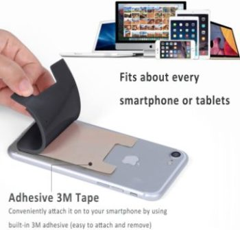 2. Pofesun Stick-on Silicone Credit Card Holder [3 Pack]