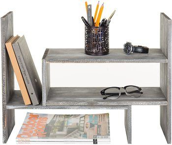 2. MyGift Distressed Gray Wood Adjustable Desktop Bookshelves