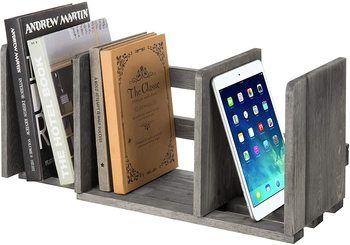 3.MyGift Expandable Gray Wood Desktop Bookshelf Organizer Rack