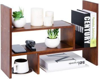 5. Liry Products Adjustable Extendable Natural Wood Desktop Organizer